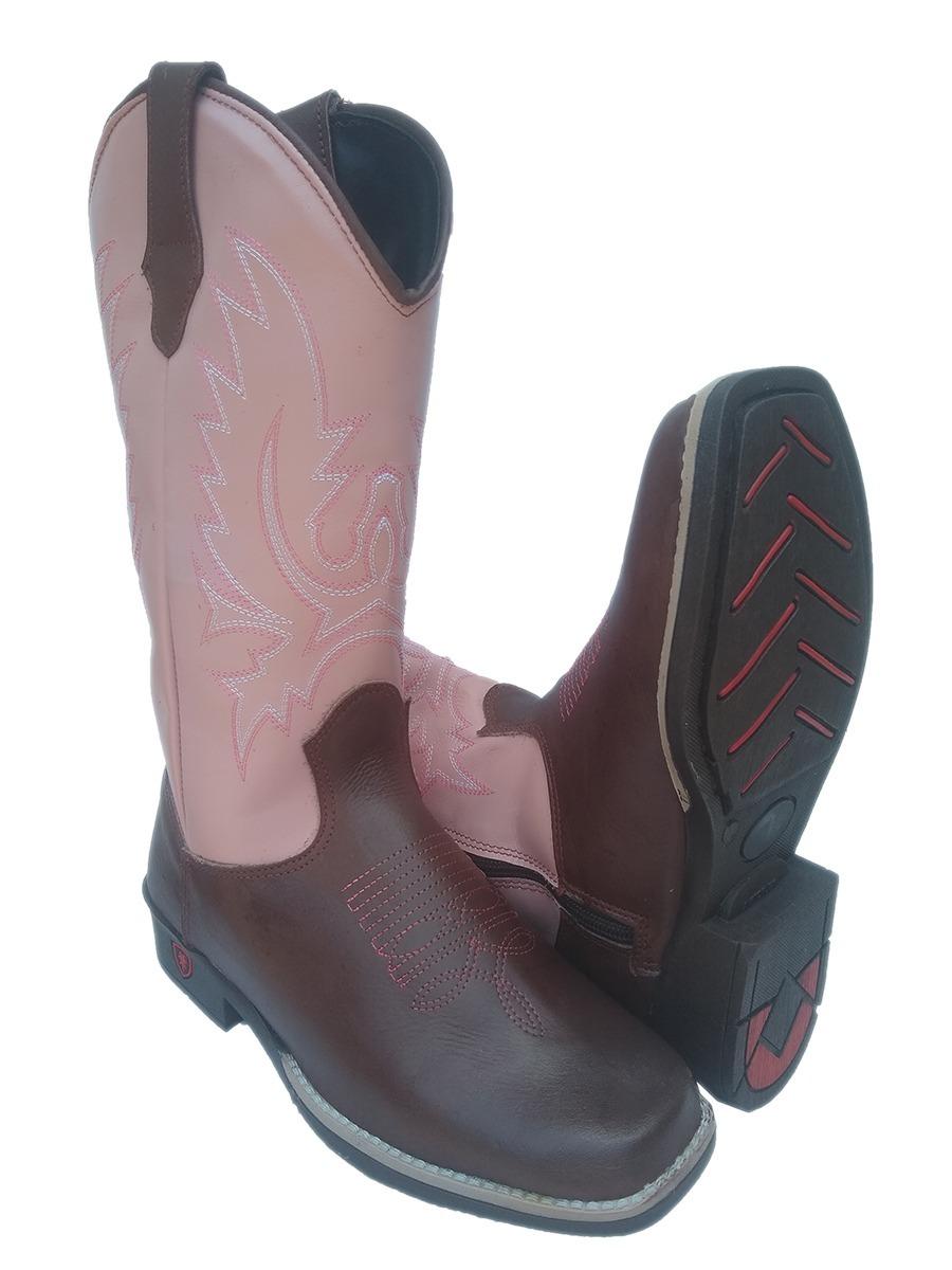 Bota Feminina Country Couro Texana Cano Longo Bico Quadrado