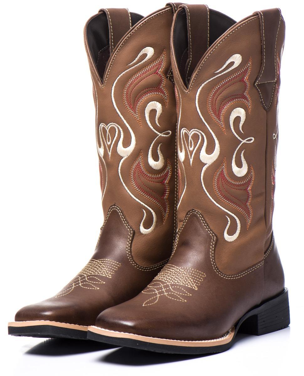 Bota Feminina Country Texana Botina Rodeio Couro Barata - R  209 475e6238257