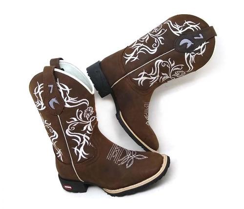 bota feminina country texana b.quad. 7estrivos couro+brinde