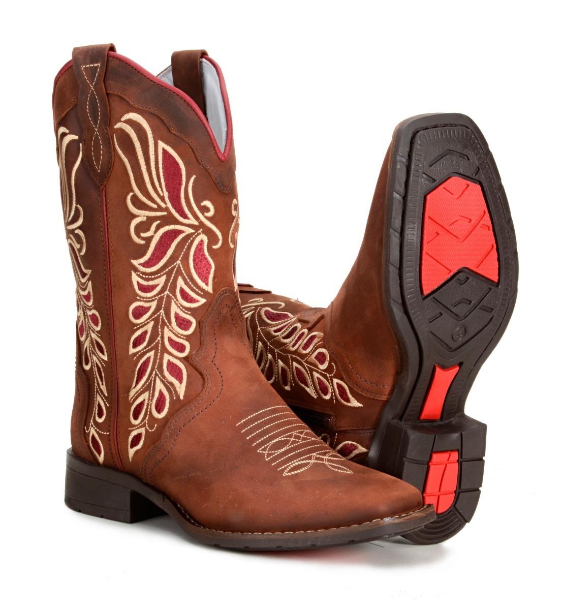 0d5b6448038 bota feminina country texana cano médio couro bico quadrado. Carregando  zoom.