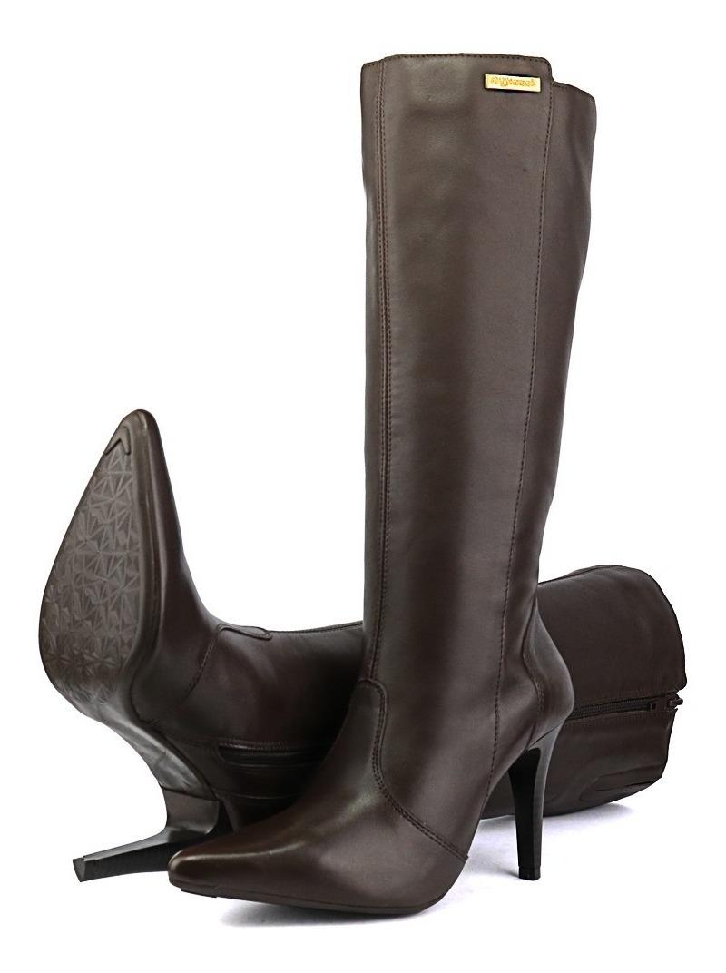 f9b63cd754 bota feminina couro cano alto bico fino salto 10 lançamento. Carregando zoom .