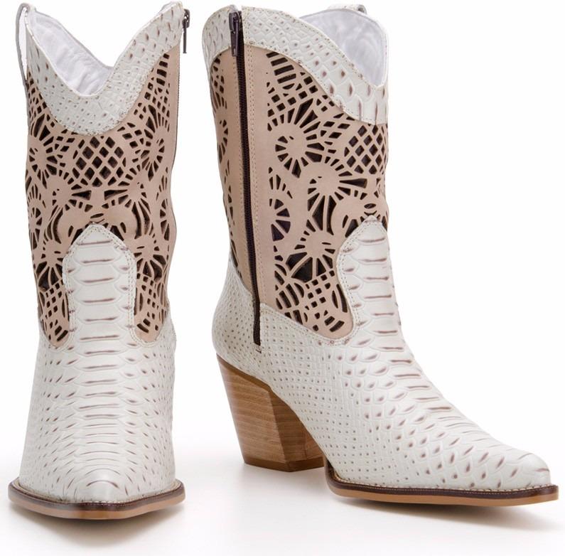 5d7b2dd292 Bota Feminina Couro Legitimo Texana Branca - Noiva Country - R$ 249 ...