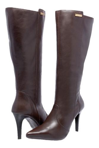 bota feminina couro legitimo ziper salto cano alto exclusiva