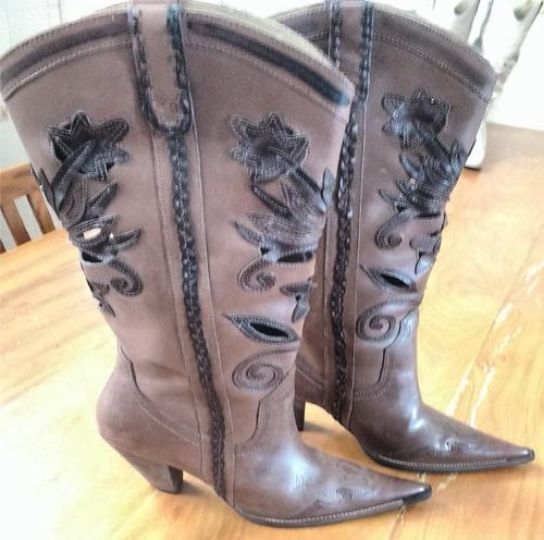 bota feminina cravo e canela - couro legítimo - country