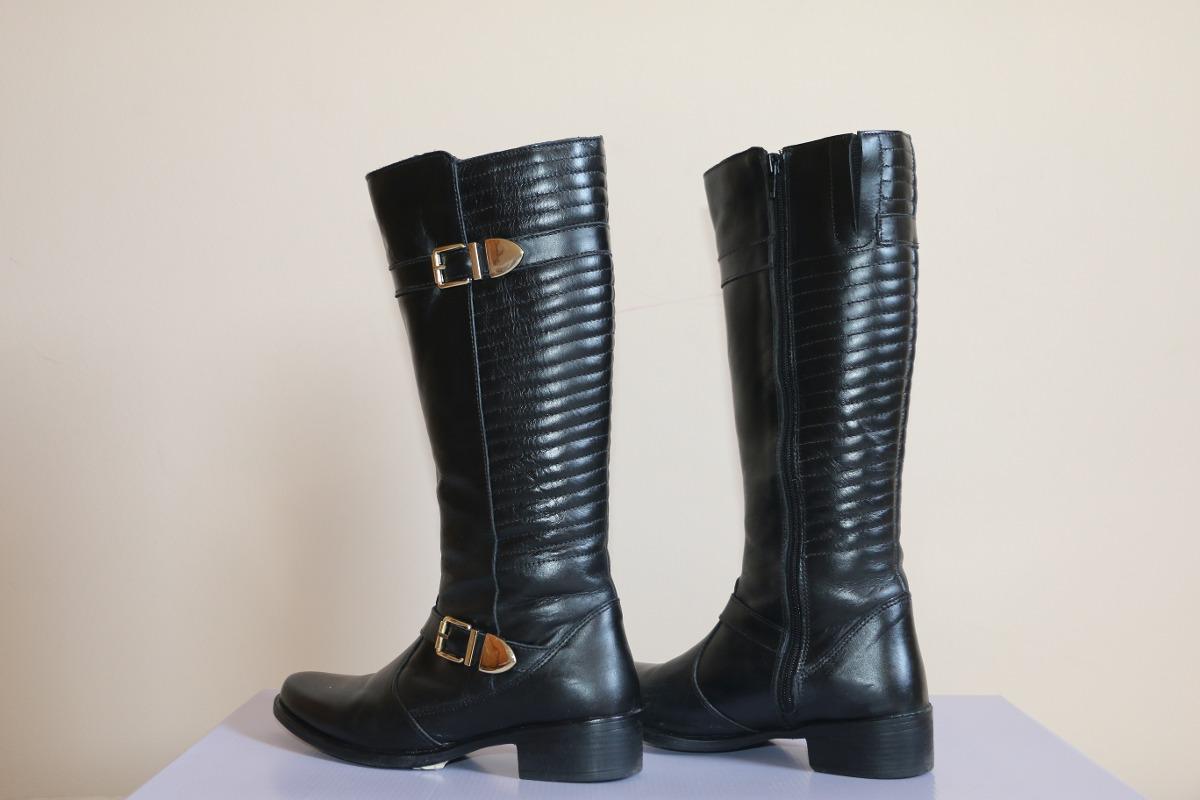 05f975670 bota feminina de couro cano longo - cor preto -promoção 1201. Carregando  zoom.