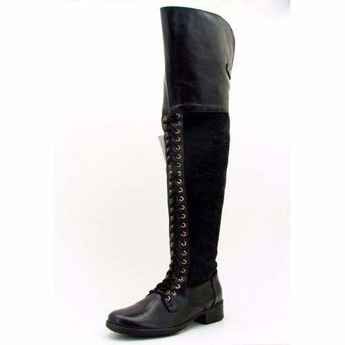 bota feminina em couro cano alto ziper atron shoes 9114