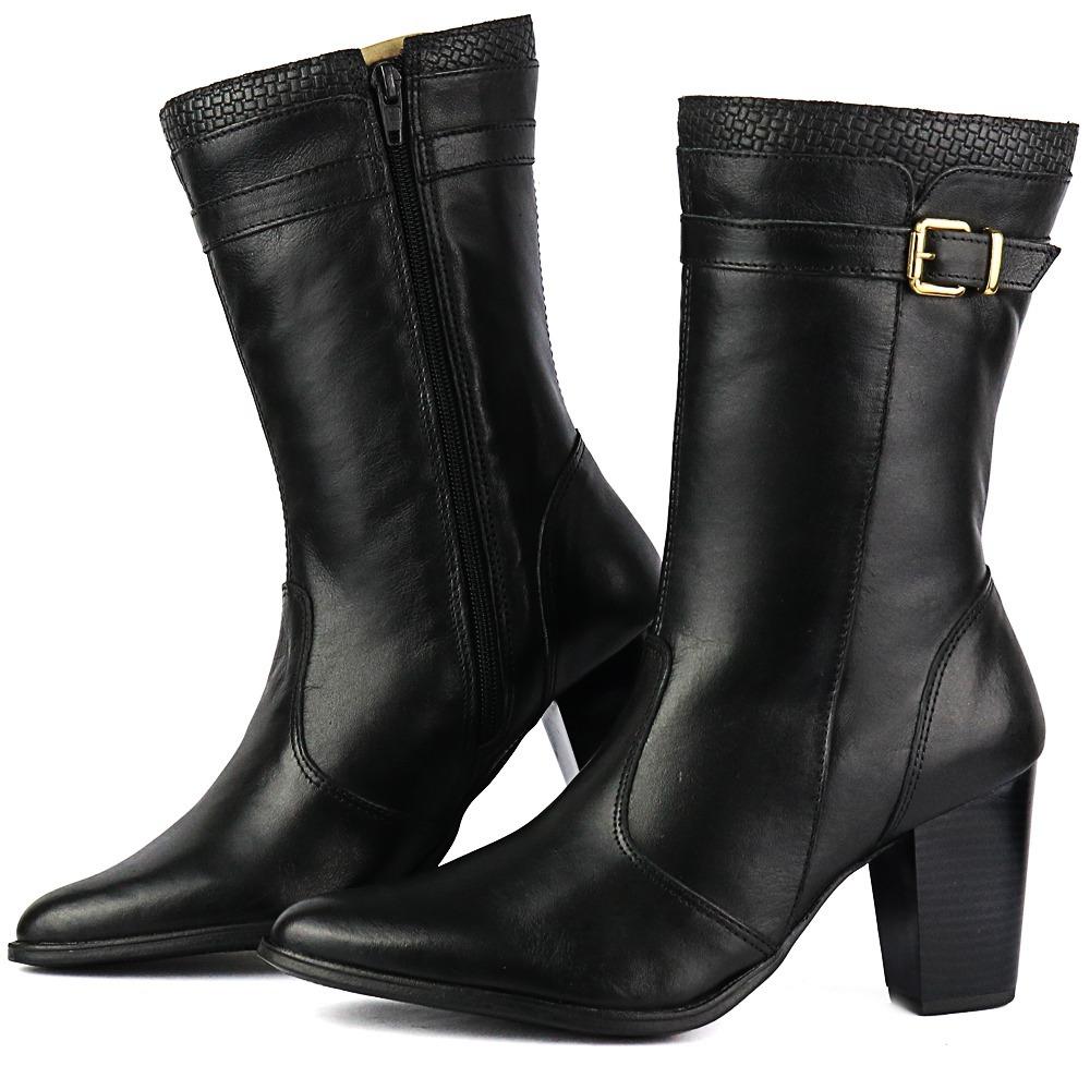 b22953b39 bota feminina em couro legítimo bico fino salto grosso 2019. Carregando zoom .
