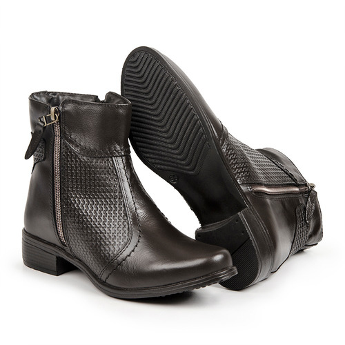 bota feminina em couro legítimo cano curto