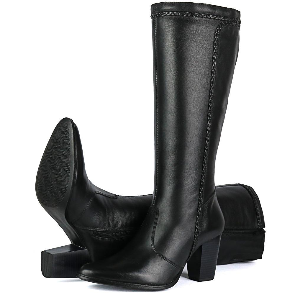 fb9202445 bota feminina em couro salto bico fino cano médio alto preto. Carregando  zoom.