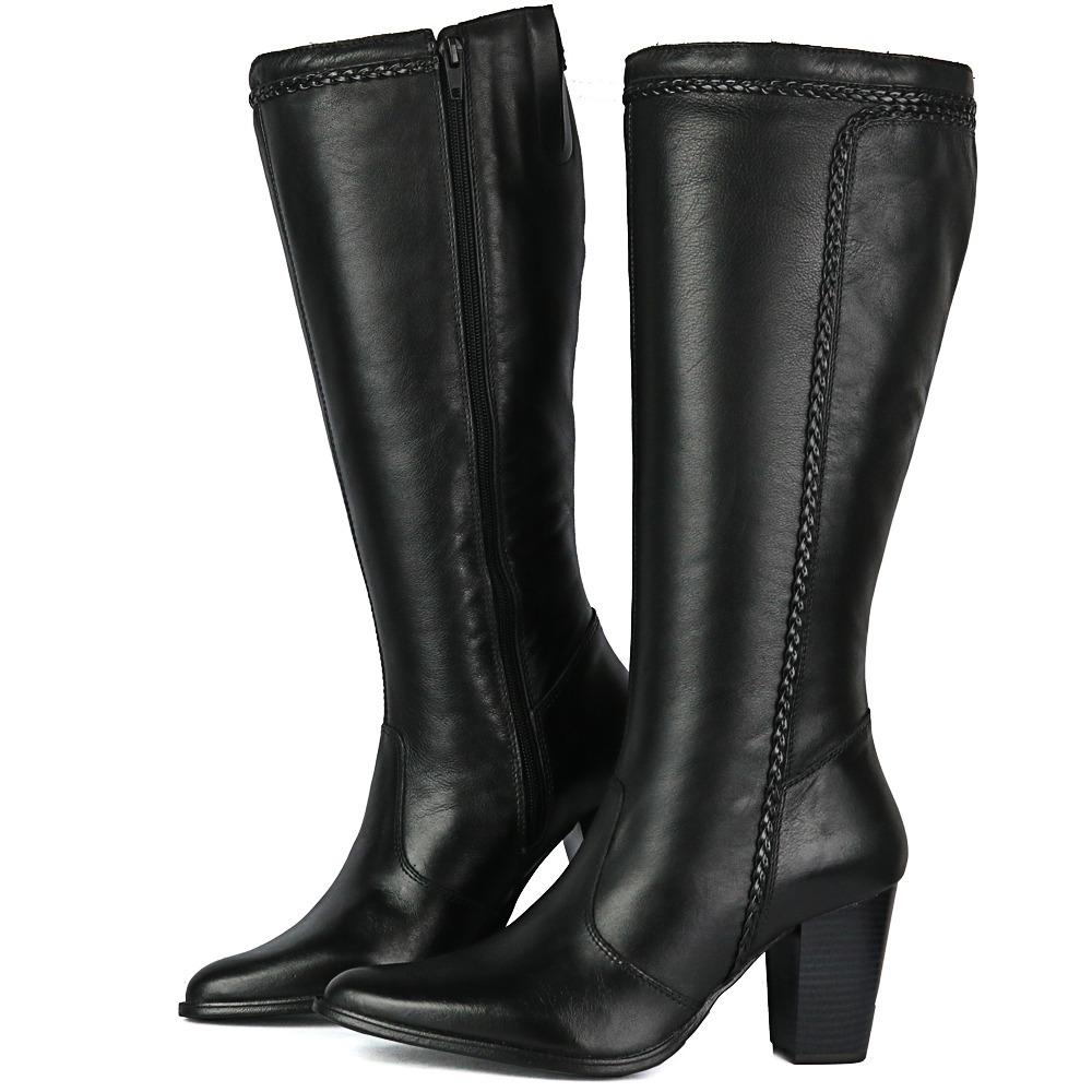 52381a6ca bota feminina em couro salto bico fino cano médio alto preto. Carregando  zoom.