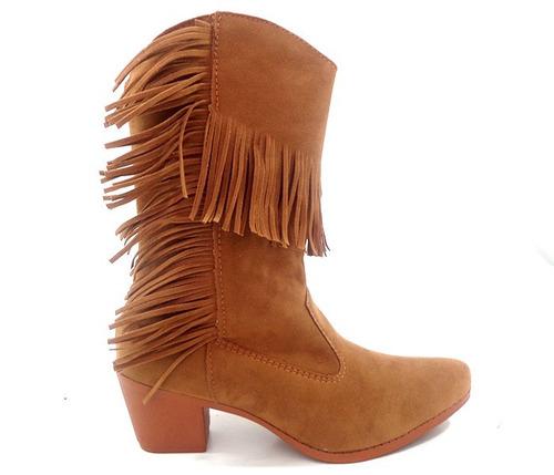 bota feminina franja caramelo promoção