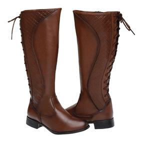 72bddf6a68 Bota Feminina Ajuste Na Panturrilha Montaria Cano Alto Couro - Sapatos com  o Melhores Preços no Mercado Livre Brasil