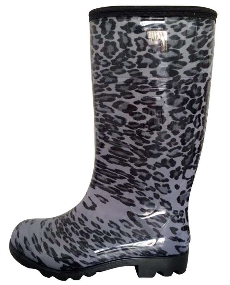 a505b0f4ec bota feminina onça galocha pvc borracha impermeável preta. Carregando zoom.