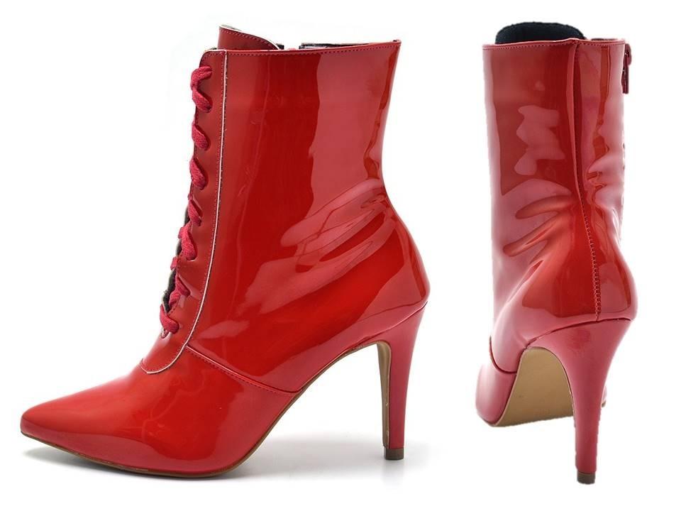 d074555d7b bota feminina salto alto bico fino flor pele napa vermelha. Carregando zoom.