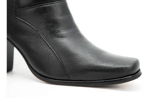 bota feminina social salto alto bico quadrado couro carneiro