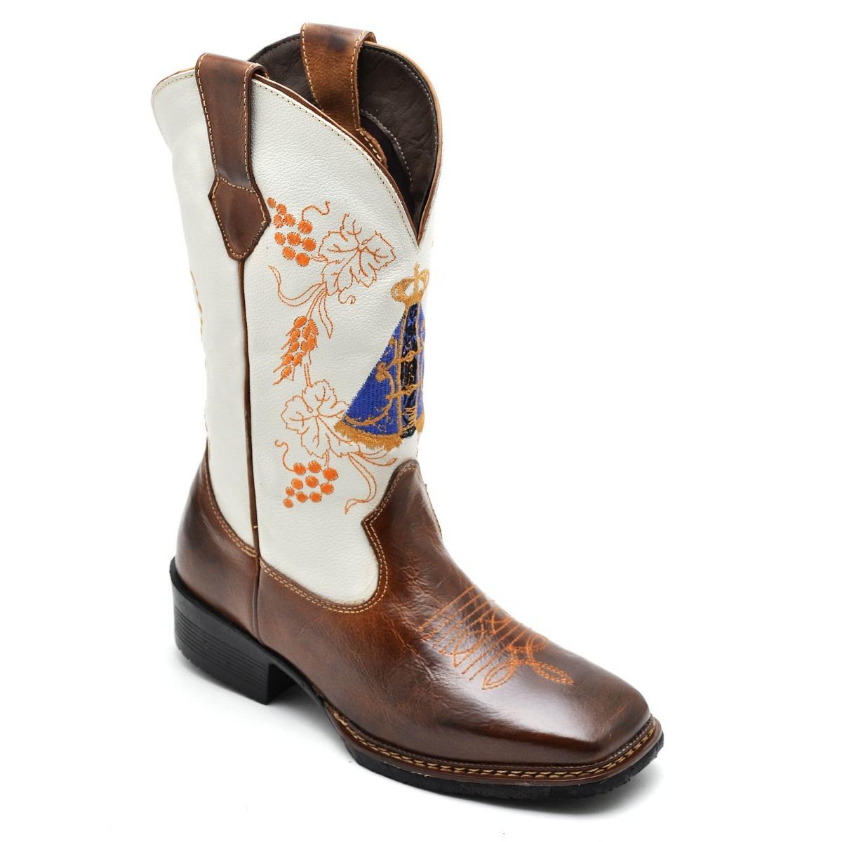 Bota feminina texana cano alto country couro nossa senhora carregando zoom  jpg 1200x1200 Botas femininas country 7603e551ff5