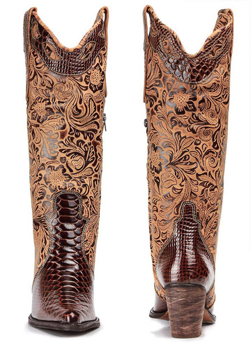 bota feminina texana country couro jacaré cano bordado fran