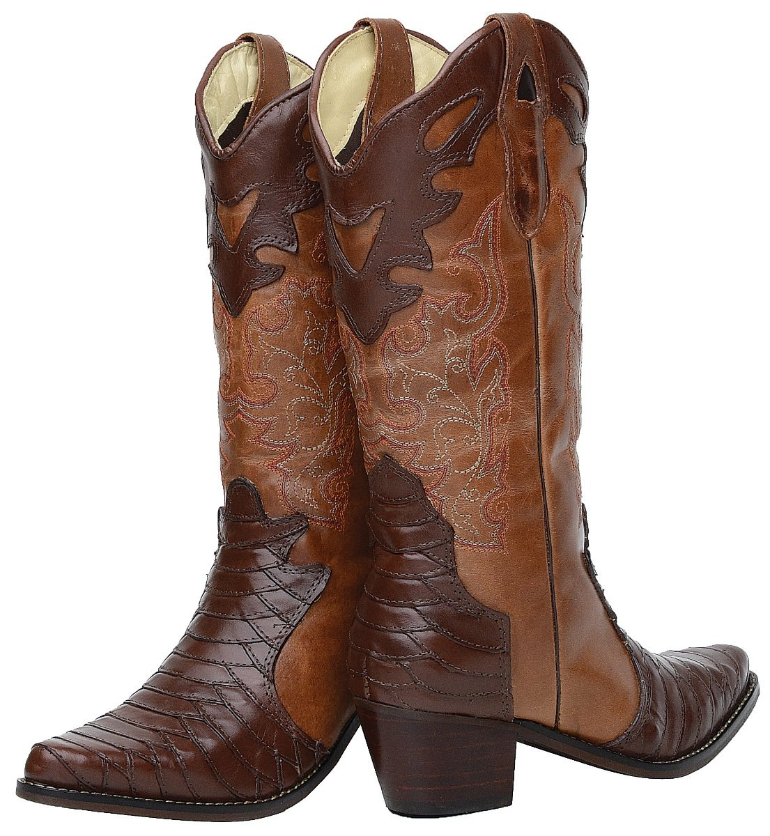 5ad55be5a01 bota feminina texana escamada bico fino montaria couro. Carregando zoom.