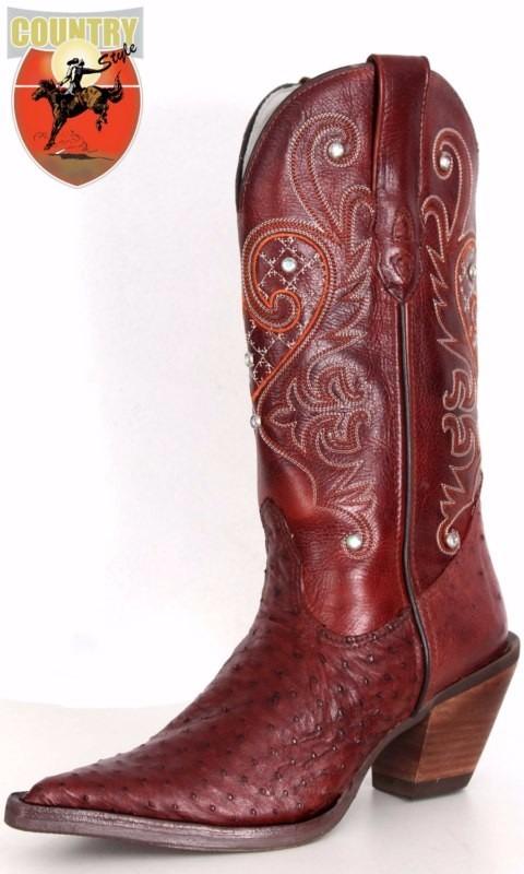 570ab5c9b bota feminina texana exótica em couro legítimo de avestruz. Carregando zoom.