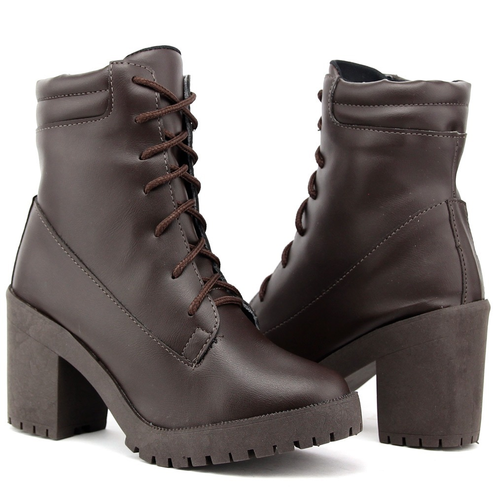 28c5f98193 bota feminina tratorada ankle boot salto alto dhl calçados. Carregando zoom.