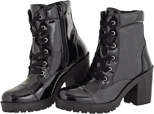 bota feminina  verniz salto alto com zíper crshoes 1701
