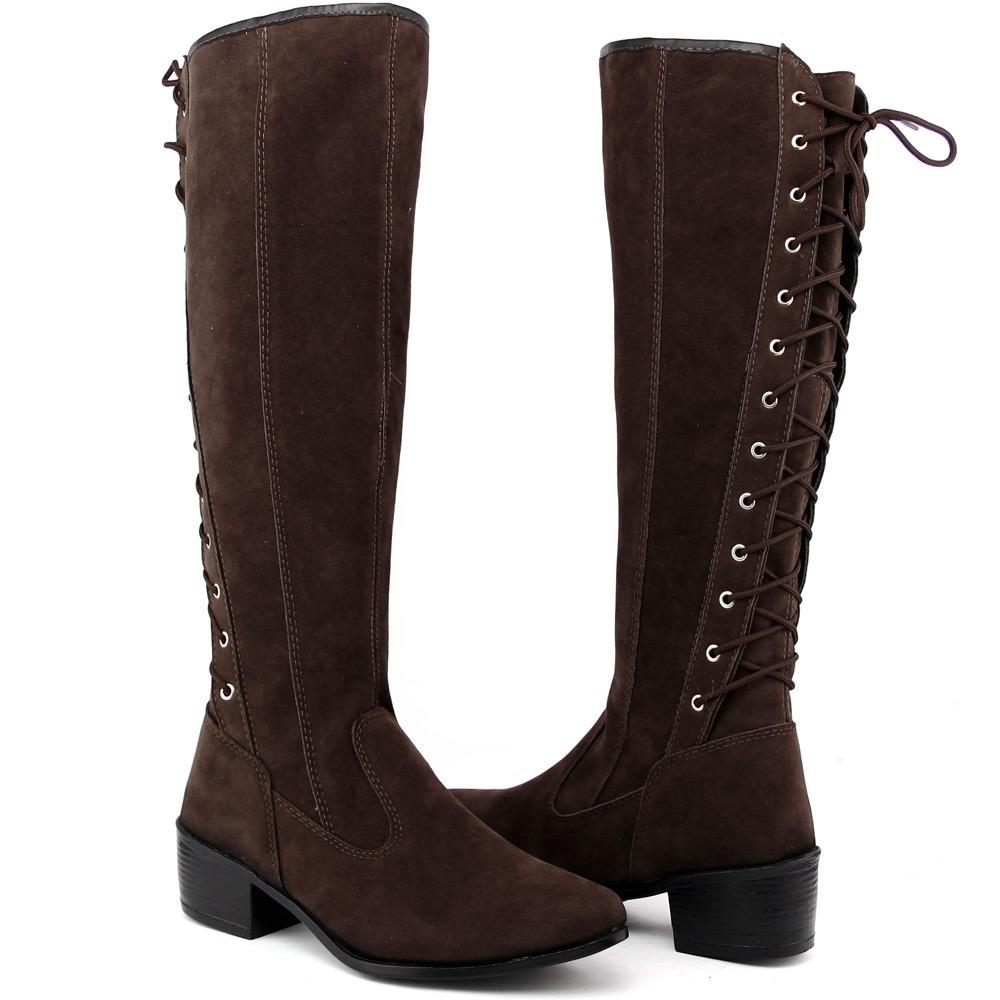b824ac8990 bota feminina zíper cano longo salto baixo camurça marrom. Carregando zoom.