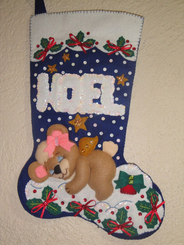 bota fieltro navideña noel