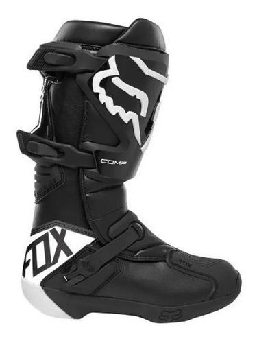bota fox comp preto branco cano longo trilha motocross