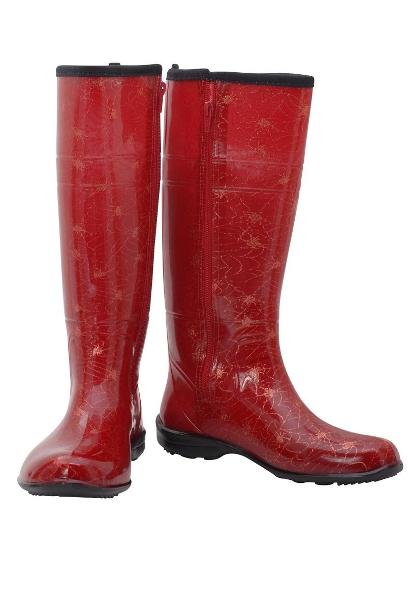 7331a24f37d bota galocha feminina aranha vermelha dourado zíper 11144. Carregando zoom.