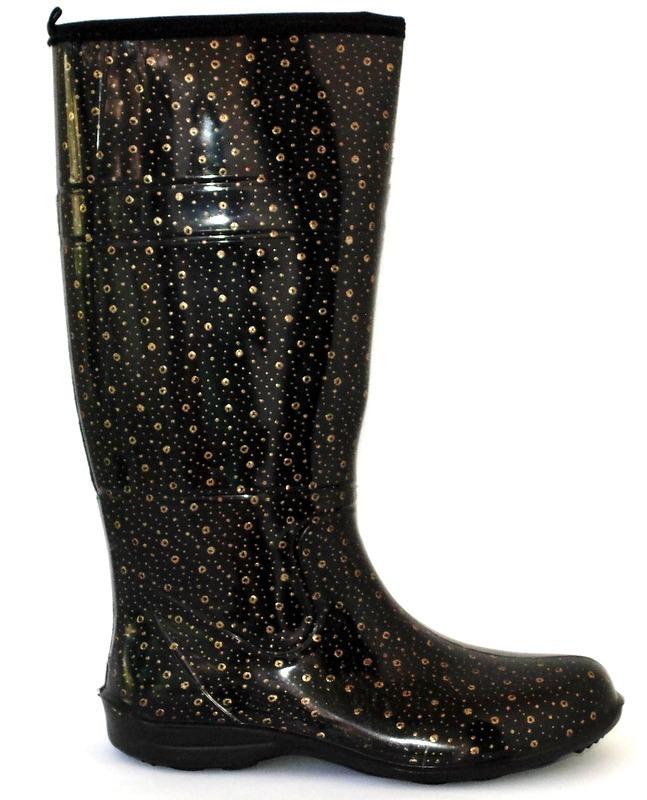5d2395633d7 bota galocha feminina cano alto bolinha dourado impermeável. Carregando  zoom.