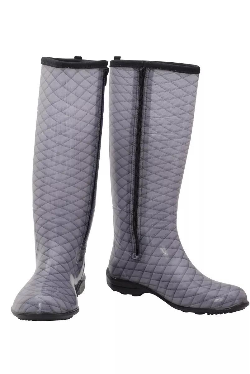 2cf066f0717 bota galocha feminina metalacê com zíper borracha cano longo. Carregando  zoom.