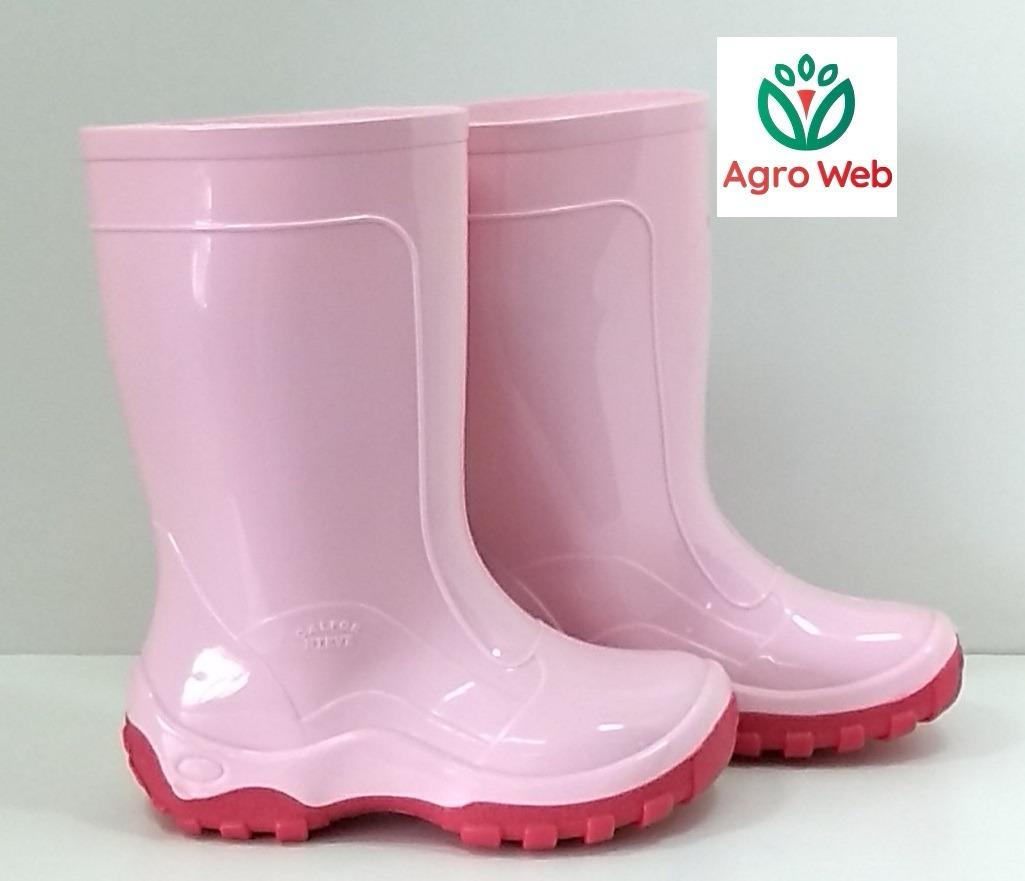 b2fb09bfc39 bota galocha infantil borracha pvc impermeável cor rosa. Carregando zoom.