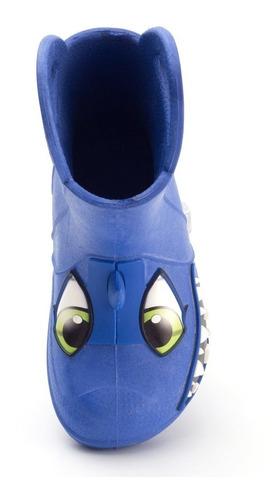 bota galocha plugt tubarão infantil - azul