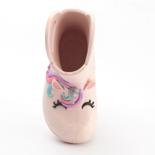 bota galocha plugt unicórnio gliter infantil - rosa