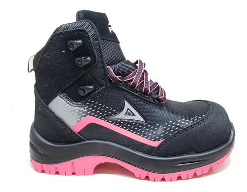 bota industrial pirma 7500 negro rosa  dama
