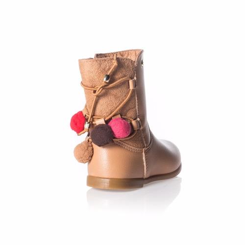 bota infantil feminina pampili alice caramelo pompom