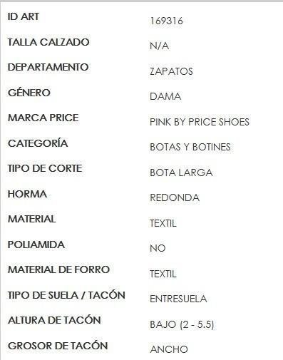 7588d6d1 Bota Larga Para Dama Pink By Price Shoes Negro 169317 B-18 ...