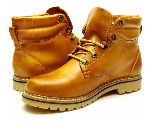 bota masculina amarela botina couro alta qualidade exclusiva