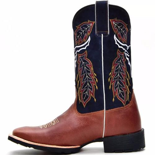 bota masculina cano alto texana cowboy bico quadrado couro