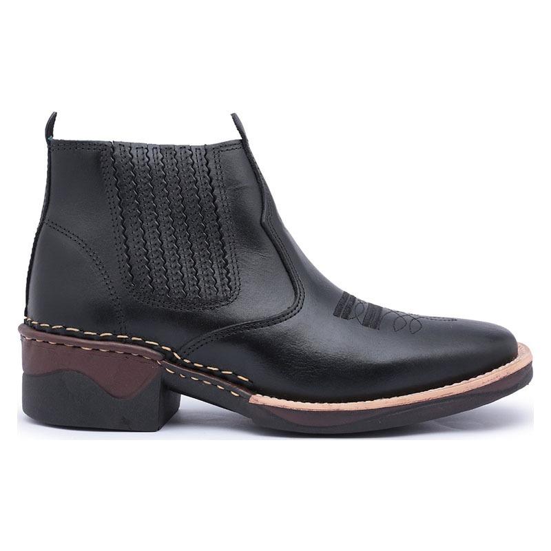 bota masculina cano curto bico quadrado em couro botina 196. Carregando  zoom. b07336fb586