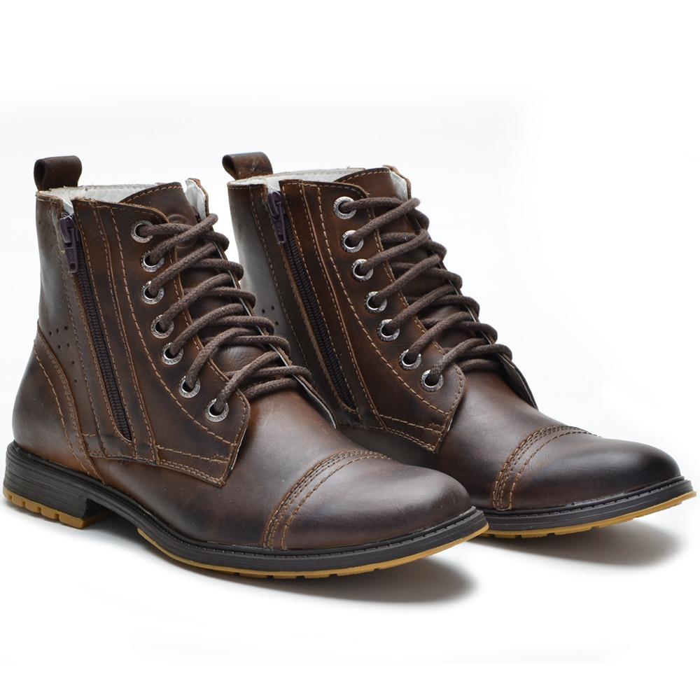 9fb88da5e1 bota masculina casual cano médio em couro zíper marrom 651 2. Carregando  zoom.