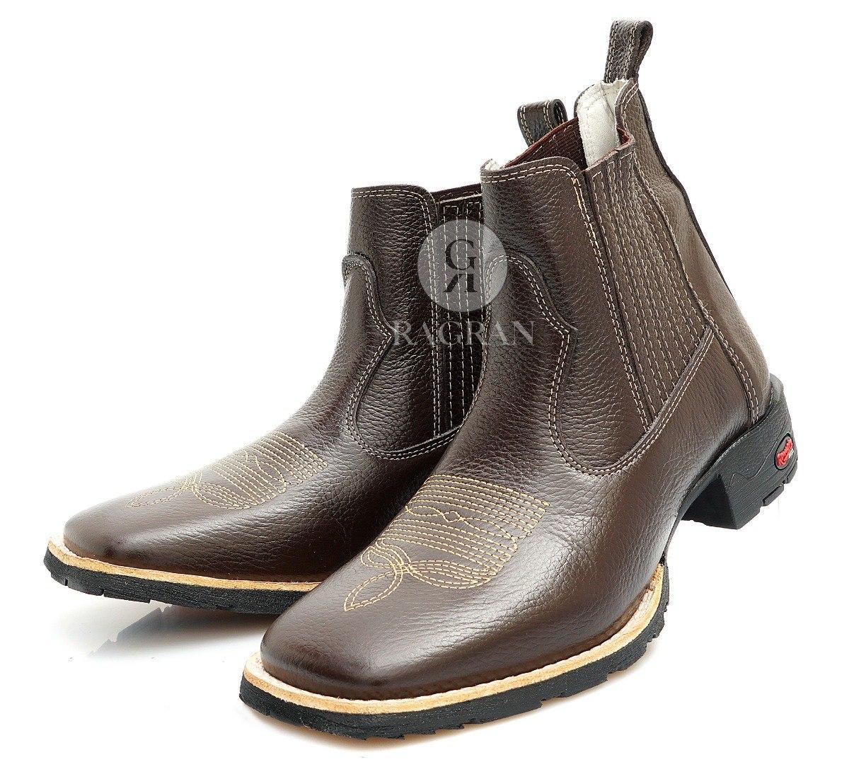 e3c6d69558 bota masculina country botina cano curto bico quadrado couro. Carregando  zoom.