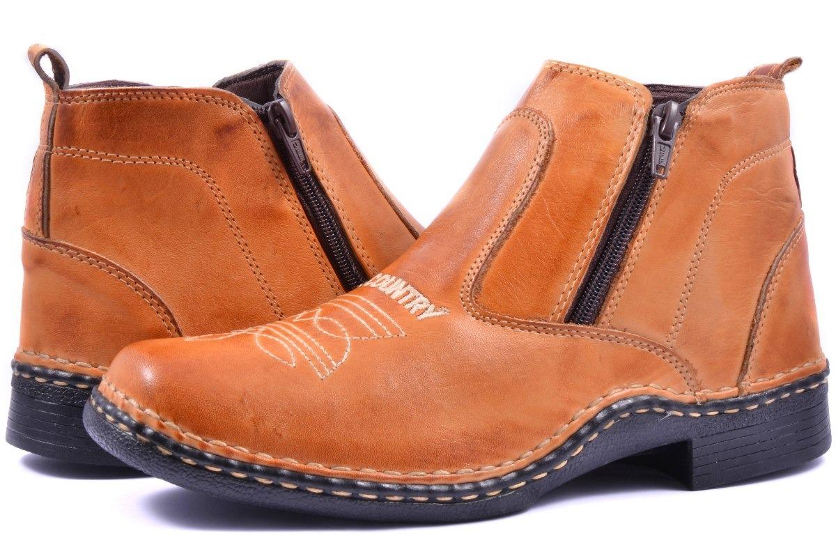 b7bdc93c36a24 ... 80c44659581 bota masculina country couro ziper cano curto peão botina.  Carregando zoom.