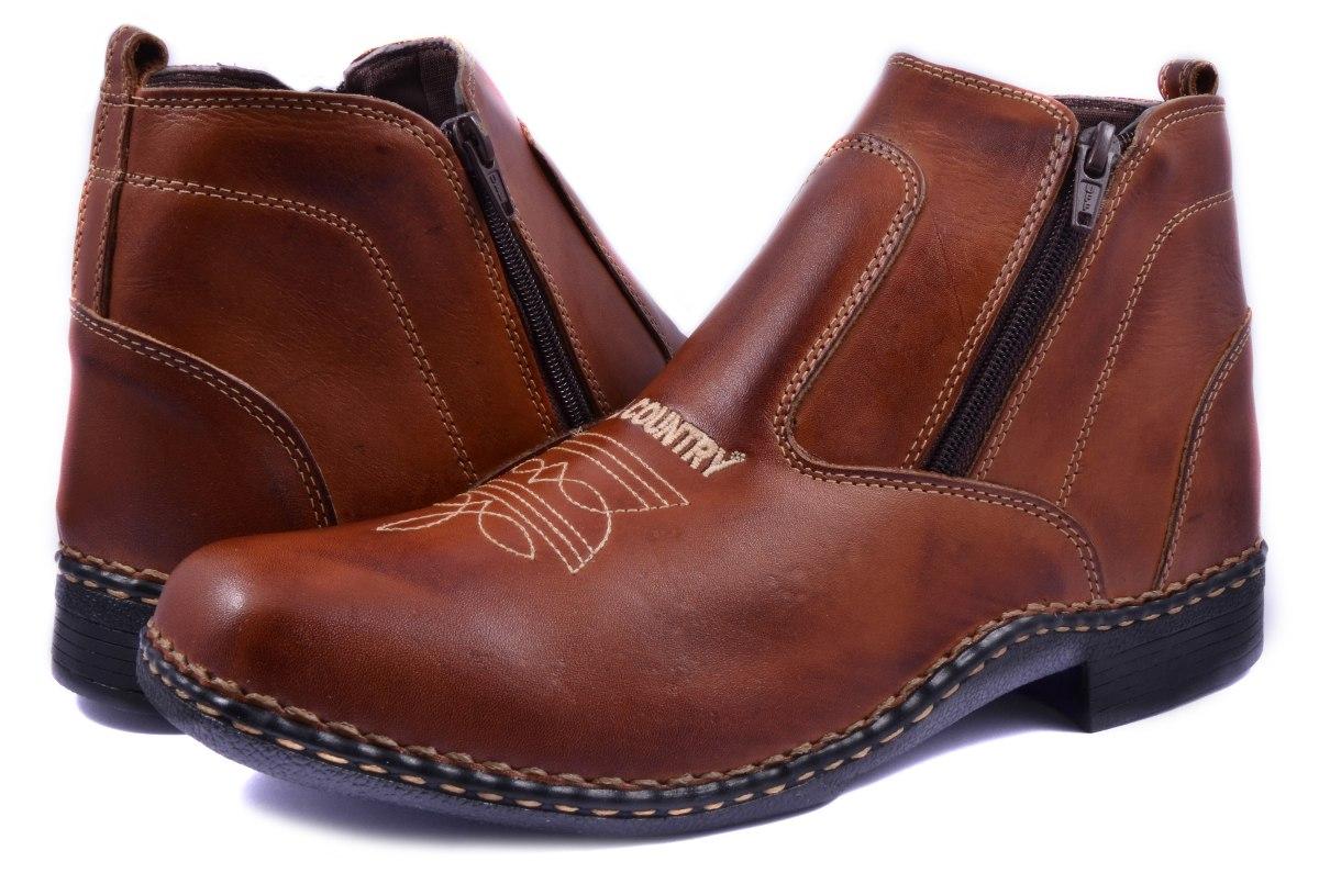 e545ce86d5 bota masculina country couro ziper cano curto peão marrom. Carregando zoom.