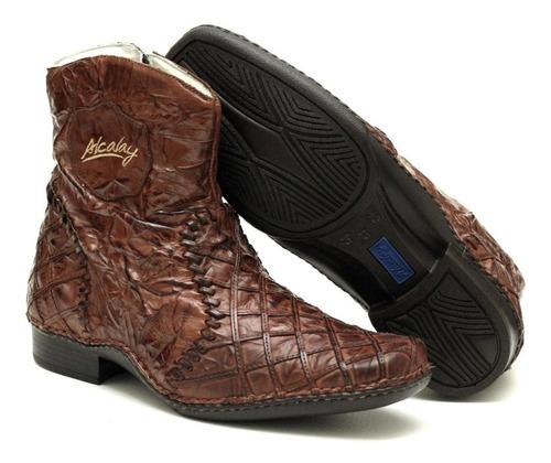 bota masculina em couro legítimo confortável leve forrada