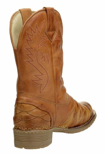 bota masculina texana escamada couro legítimo clacle
