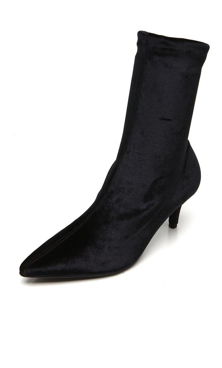 53e23d18d bota meia sock boot bico fino em veludo vizzano preta. Carregando zoom.