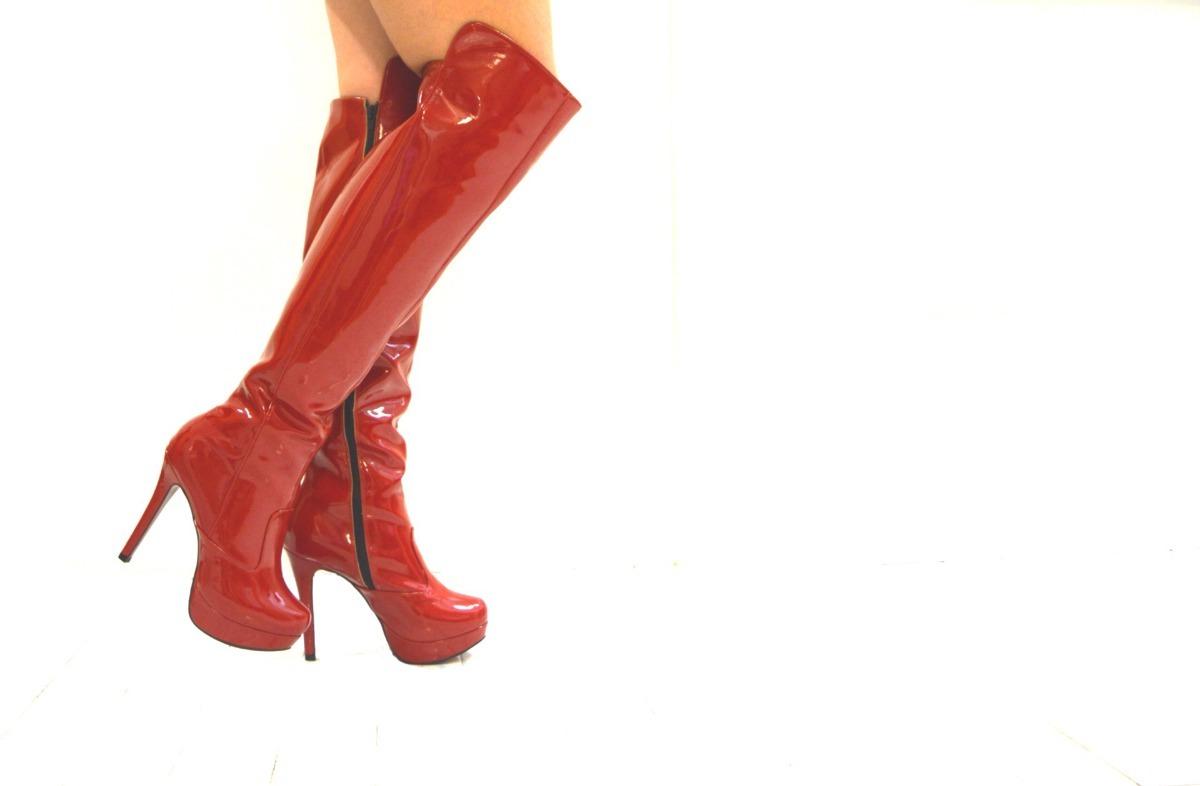 75ef98d424 bota moda drag queen meia pata verniz vermelho r 67. Carregando zoom.
