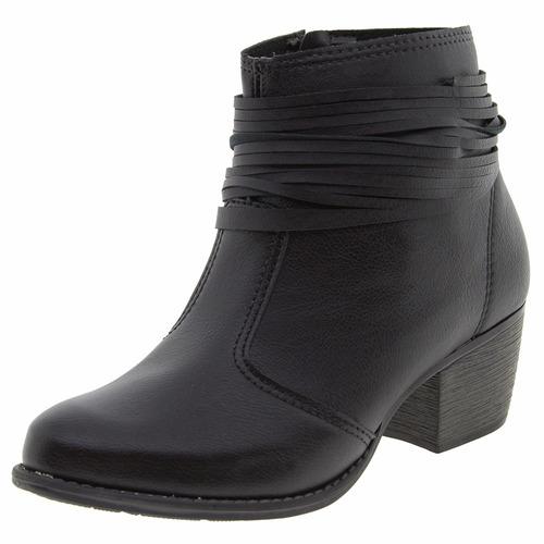 bota moleca feminina preta cano baixo curto napa promoção