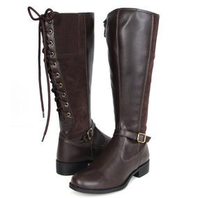 338b6e92b Bota Cano Longo De Amarrar Atras Botas - Sapatos para Feminino no ...